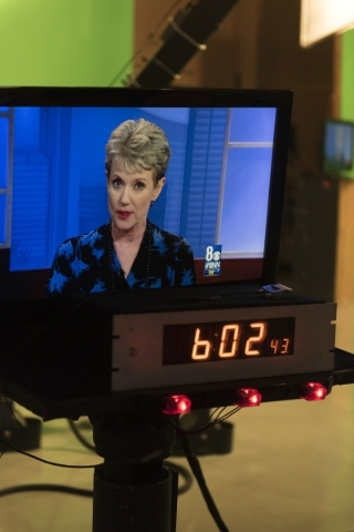 News anchor Paula Francis is seen on a monitor during  the 6 p.m. broadcast at KLAS-TV Channel 8's studio in Las Vegas Wednesday, Feb. 17, 2016. Francis will retire on April 1 after working  ...