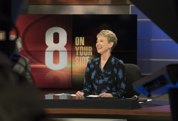 News anchor Paula Francis is seen during  the 6 p.m. broadcast at KLAS-TV Channel 8's studio in Las Vegas Wednesday, Feb. 17, 2016. Francis will retire on April 1 after working in Las Vegas  ...