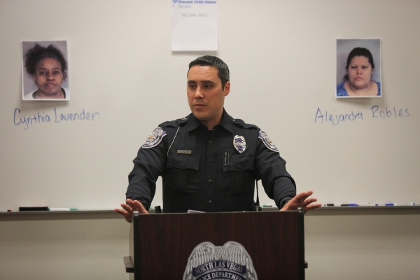 North Las Vegas Police Department officer Aaron Petty speaks to the media about two recent child abuse cases on Friday, Feb. 19, 2016. Brett Le Blanc/Las Vegas Review-Journal Follow @bleblancphoto