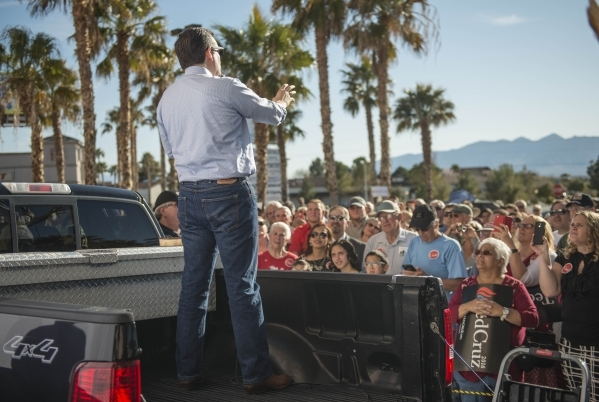 Republican presidential candidate Sen. Ted Cruz of Texas addresses supporters during a rally at Draft Picks Sports Bar in Pahrump on Sunday, Feb.  21, 2016. Nevada holds its Republican caucus on F ...