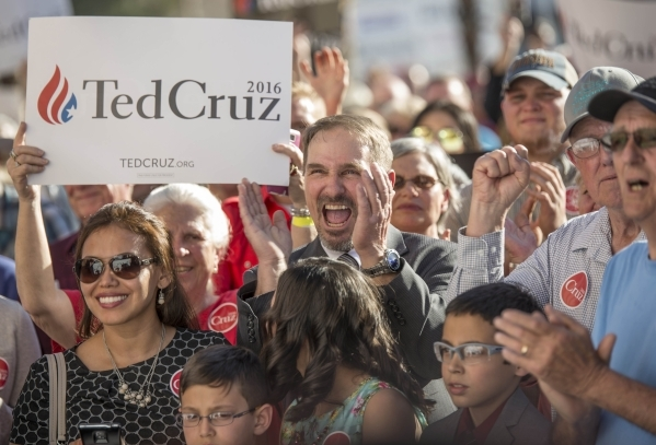 Crowds show support for Republican presidential candidate Sen. Ted Cruz of Texas during a rally at Draft Picks Sports Bar in Pahrump on Sunday, Feb.  21, 2016. Nevada holds its Republican caucus o ...