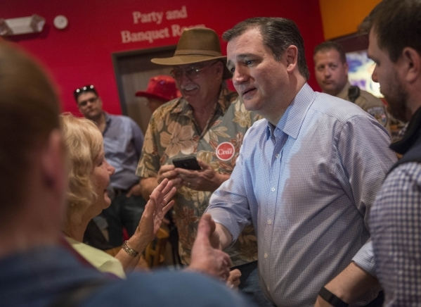 Republican presidential candidate Sen. Ted Cruz of Texas greets supporters during a rally at Draft Picks Sports Bar in Pahrump on Sunday, Feb.  21, 2016. Nevada holds its Republican caucus on Feb. ...