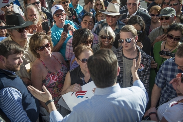 Republican presidential candidate Sen. Ted Cruz of Texas meets with supporters during a rally at Draft Picks Sports Bar in Pahrump on Sunday, Feb.  21, 2016. Nevada holds its Republican caucus on  ...