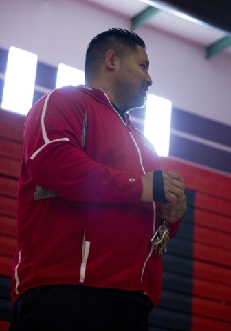 Liberty High School girls basketball coach Chad Kapanui stands on the court during practice at Liberty High School in Las Vegas on Tuesday, Feb. 23, 2016. Daniel Clark/Las Vegas Review-Journal Fol ...