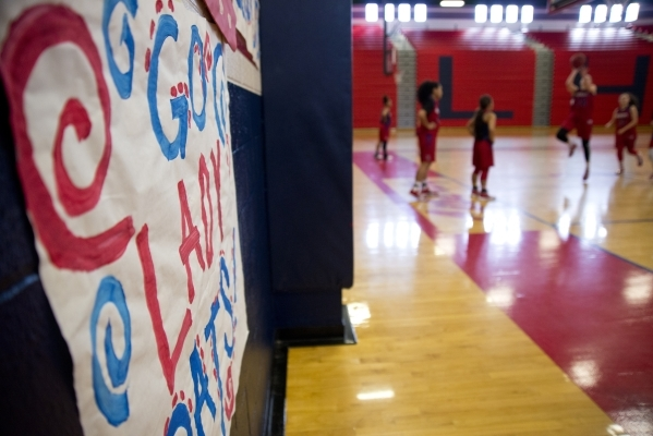 The gym is decorated with a sign to encourage the girls basketball team during practice at Liberty High School in Las Vegas on Tuesday, Feb. 23, 2016. Daniel Clark/Las Vegas Review-Journal Follow  ...