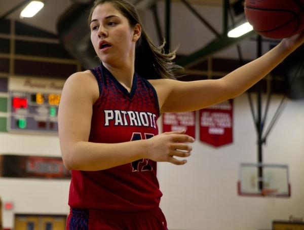 Liberty's Nancy Caballero (41) catches the ball during practice at Liberty High School in Las Vegas on Tuesday, Feb. 23, 2016. Daniel Clark/Las Vegas Review-Journal Follow @DanJClarkPhoto
