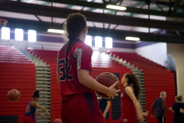 Liberty's Taylor Turney (32) looks over the court during practice at Liberty High School in Las Vegas on Tuesday, Feb. 23, 2016. Daniel Clark/Las Vegas Review-Journal Follow @DanJClarkPhoto