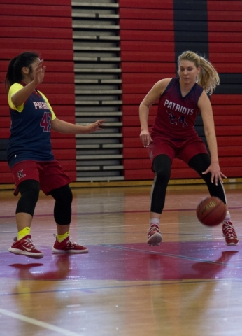 Liberty's Gabby Doxtator (24) works the ball in against Danielle Cervas (43) during practice at Liberty High School in Las Vegas on Tuesday, Feb. 23, 2016. Daniel Clark/Las Vegas Review-Jour ...