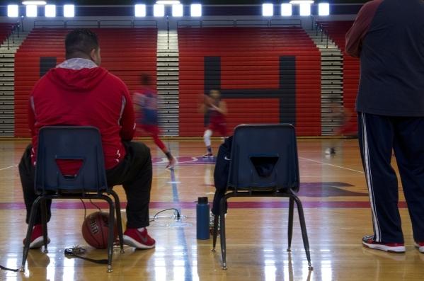 Liberty High School girls basketball coach Chad Kapanui watches his team during practice at Liberty High School in Las Vegas on Tuesday, Feb. 23, 2016. Daniel Clark/Las Vegas Review-Journal Follow ...