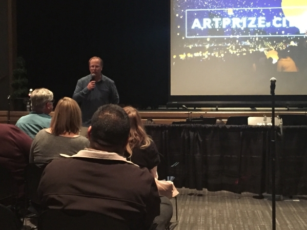Clark County Public Art Cultural Specialist Michael Ogilvie talks to a crowd at a public meeting Feb. 11 at the Winchester Cultural Center, 3130 McLeod Drive. The meeting was to discuss the possib ...