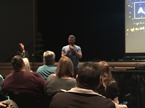 ArtPrize Executive Director Christian Gaines talks to a crowd at a public meeting Feb. 11 at the Winchester Cultural Center, 3130 McLeod Drive. The meeting was to discuss the possibility of bringi ...