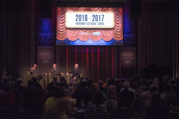 Penn Jillette, left, and Raymond Teller, center, speak with Myron Martin, president and CEO of The Smith Center, at an event to unveil the lineup for the 2016-17 Broadway Las Vegas season at The S ...
