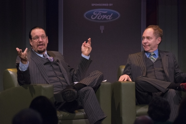 Penn Jillette, left, and Raymond Teller speak with Myron Martin, president and CEO of The Smith Center, not pictured, at an event to unveil the lineup for the 2016-17 Broadway Las Vegas season at  ...