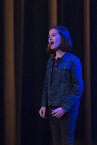 """Nine-year-old Alessandra Baldcchino, who plays Allison in a production called """"Fun Home,"""" sings at an event to unveil the lineup for the 2016-17 Broadway Las Vegas season at The Smith Ce ..."""