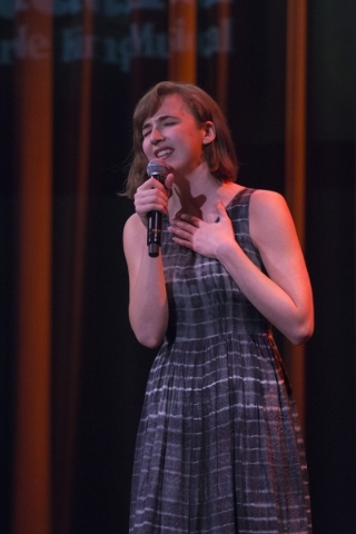 Julia Knitel sings at an event to unveil the lineup for the 2016-17 Broadway Las Vegas season at The Smith Center in Las Vegas Wednesday, Feb. 24, 2016. Knitel will be performing at The Smith Cent ...
