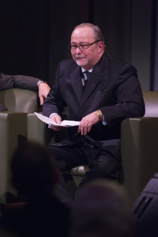 Myron Martin, president and CEO of The Smith Center for the Performing Arts, speaks with Penn Jillette and Raymond Teller, both not pictured, at an event to unveil the lineup for the 2016-17 Broad ...