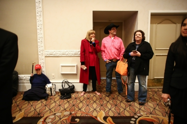 Supporters wait for Republican presidential candidate Donald Trump to speak at his watch party at Treasure Island hotel-casino in Las Vegas on Tuesday, Feb. 23, 2016. Chase Stevens/Las Vegas Revie ...
