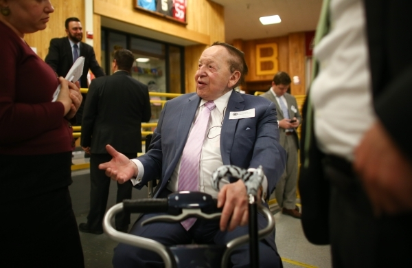 Las Vegas Sands Chairman and CEO Sheldon Adelson stops by Bonanza High School to caucus in Las Vegas on Tuesday, Feb. 23, 2016. Chase Stevens/Las Vegas Review-Journal Follow @csstevensphoto