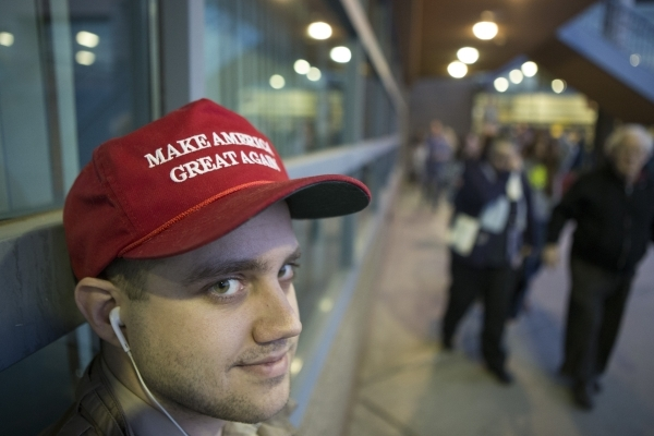 Donald Trump supporter Mitchell Wilburn poses for a portrait at Del Sol High School during the Nevada Republican caucus on Tuesday, Feb. 23, 2016, in Las Vegas. Erik Verduzco/Las Vegas Review-Jour ...