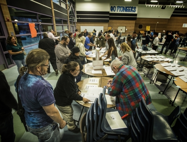 People line up to check in at  the GOP caucus at Canyon Springs High School, 350 E. Alexander Road, in North Las Vegas on Tuesday, Feb.23, 2016. Jeff Scheid/Las Vegas Review-Journal Follow @jlscheid