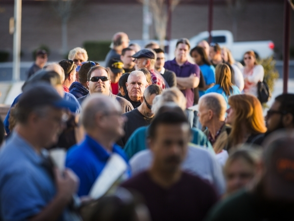 People line up to attend the Republican caucus at Canyon Springs High School, 350 E. Alexander Road, in North Las Vegas on Tuesday, Feb.23, 2016. Jeff Scheid/Las Vegas Review-Journal Follow @jlscheid