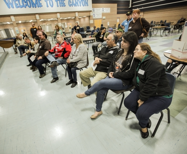 People listen to a Ted Cruz supporter during the Republican caucus at Canyon Springs High School, 350 E. Alexander Road, in North Las Vegas on Tuesday, Feb.23, 2016. Jeff Scheid/Las Vegas Review-J ...