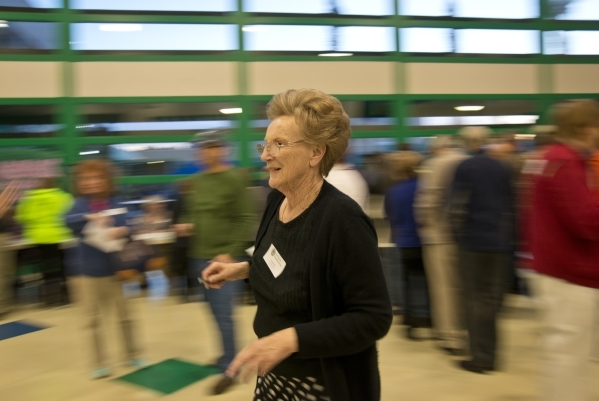 Volunteer Darlene Milloy walks inside Green Valley High School during the Nevada Republican presidential caucus in Henderson on Tuesday, Feb. 23. 2016. Daniel Clark/Las Vegas Review-Journal Follow ...