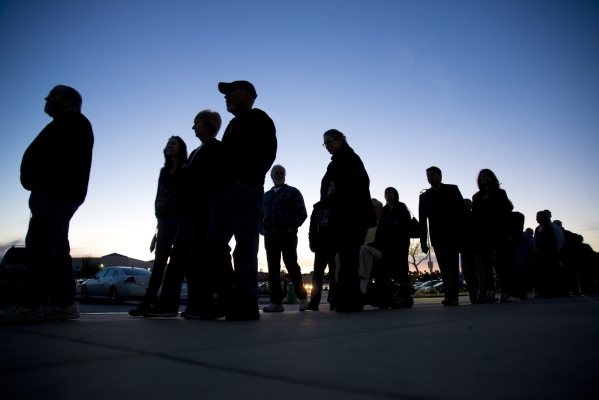 Republicans line up outside Green Valley High School for the Nevada Republican presidential caucus in Henderson on Tuesday, Feb. 23. 2016. Daniel Clark/Las Vegas Review-Journal Follow @DanJClarkPhoto