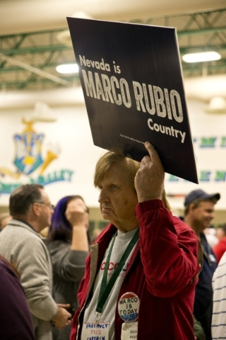 Dick Hoyt holds a sign supporting Marco Rubio inside Green Valley High School during the Nevada Republican presidential caucus in Henderson on Tuesday, Feb. 23. 2016. Daniel Clark/Las Vegas Review ...