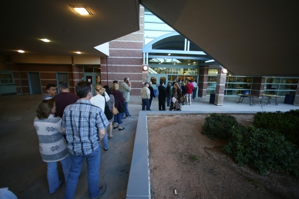 A line forms to enter the registration area of the 2016 Republican caucus at Centennial High School in Las Vegas on Tuesday, Feb. 23, 2016. Brett Le Blanc/Las Vegas Review-Journal Follow @bleblanc ...