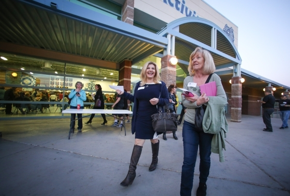Assemblywoman Michele Fiore, R-Las Vegas, walks out of the cafeteria of Centennial High School during the 2016 Republican caucus in Las Vegas on Tuesday, Feb. 23, 2016. Brett Le Blanc/Las Vegas Re ...