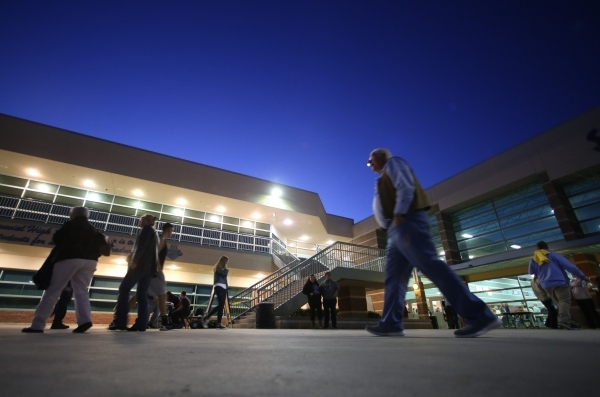 Caucus goers walk across the campus of Centennial High School during the 2016 Republican caucus in Las Vegas on Tuesday, Feb. 23, 2016. Brett Le Blanc/Las Vegas Review-Journal Follow @bleblancphoto