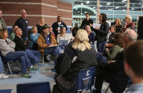 A voter speaks caucuses for a candidate during the 2016 Republican caucus at Centennial High School in Las Vegas on Tuesday, Feb. 23, 2016. Brett Le Blanc/Las Vegas Review-Journal Follow @bleblanc ...