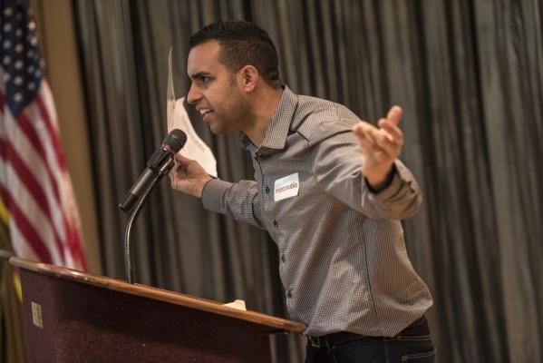 Navid Farzan voices his opinion during the Republican caucus at the Sun City Summerlin Mountain Shadows Community Center in Las Vegas on Tuesday, Feb. 23, 2016. Joshua Dahl/Las Vegas Review-Journal