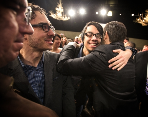 Republican presidential candidate Sen. Marco Rubio,right, hugs his Las Vegas cousin Shane Conger during a campaign rally at the Silverton Casino, 3333 Blue Diamond Road on Tuesday, Feb.23, 2016. A ...