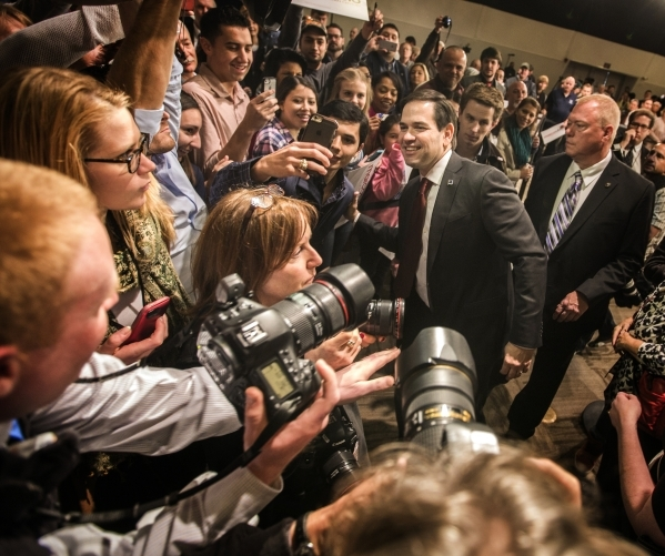 Republican presidential candidate Sen. Marco Rubio poises for a selfie during a campaign rally at the Silverton Casino, 3333 Blue Diamond Road on Tuesday, Feb.23, 2016. Jeff Scheid/Las Vegas Revie ...