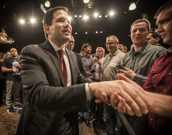 Republican presidential candidate Sen. Marco Rubio shakes hands with a supporter during a rally at the Silverton Casino, 3333 Blue Diamond Road on Tuesday, Feb.23, 2016. Jeff Scheid/Las Vegas Revi ...
