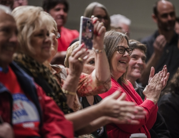Supporters clap while Republican presidential candidate Sen. Marco Rubio speaks during a rally at the Silverton Casino, 3333 Blue Diamond Road on Tuesday, Feb.23, 2016. Jeff Scheid/Las Vegas Revie ...