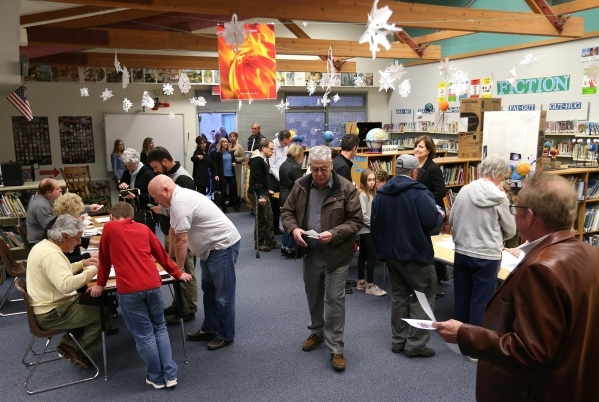 More than 600 ballots had been handed out by 6:30 p.m. at the Republican caucus at Caughlin Ranch Elementary School in Reno, Nev. on Tuesday, Feb. 23, 2016. Officials reported precincts were &quot ...