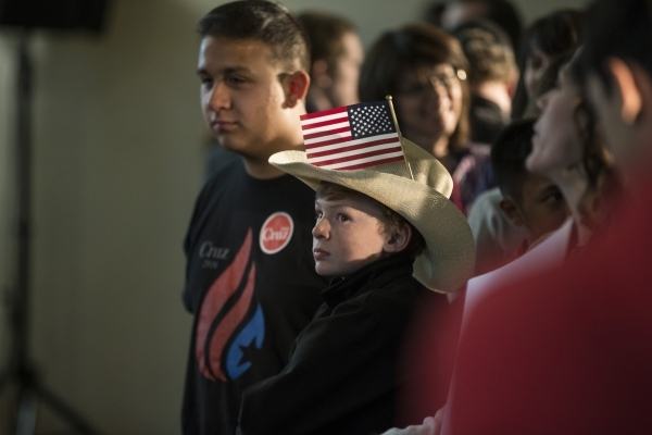 Dale Herrod, 12, looks at a TV screen during a Ted Cruz Republican caucus watch party at Bill and Lillie Heinrich YMCA on Tuesday, Feb. 23, 2016, in Las Vegas. Erik Verduzco/Las Vegas Review-Journ ...