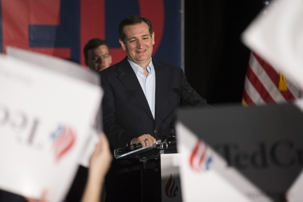 Republican presidential candidate Ted Cruz takes the stage during a Nevada caucus watch party at Bill and Lillie Heinrich YMCA on Tuesday, Feb. 23, 2016, in Las Vegas. Erik Verduzco/Las Vegas Revi ...