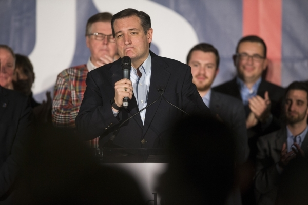 Republican presidential candidate Ted Cruz speaks during a Nevada caucus watch party at Bill and Lillie Heinrich YMCA on Tuesday, Feb. 23, 2016, in Las Vegas. Erik Verduzco/Las Vegas Review-Journa ...