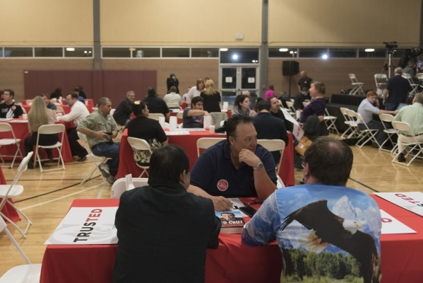 Ted Cruz arrive early at the GOP caucus watch party for presidential candidate Ted Cruz at the Bill & Lillie Heinrich YMCA at 4141 Meadows Lane in Las Vegas Tuesday, Feb. 23, 2016. Jason Oguln ...