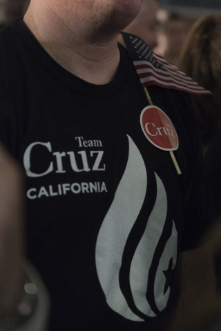 A Ted Cruz supporter watches the results at the GOP caucus watch party for presidential candidate Ted Cruz at the Bill & Lillie Heinrich YMCA at 4141 Meadows Lane in Las Vegas Tuesday, Feb. 23 ...
