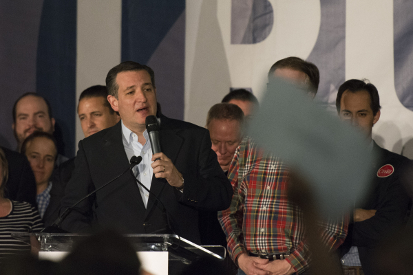 GOP presidential candidate Ted Cruz speaks at his caucus watch party at the Bill & Lillie Heinrich YMCA at 4141 Meadows Lane in Las Vegas Tuesday, Feb. 23, 2016. Jason Ogulnik/Las Vegas Review ...