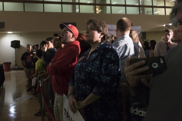 Ted Cruz supporters wait for the speakers at the GOP caucus watch party for presidential candidate Ted Cruz at the Bill & Lillie Heinrich YMCA at 4141 Meadows Lane in Las Vegas Tuesday, Feb. 2 ...