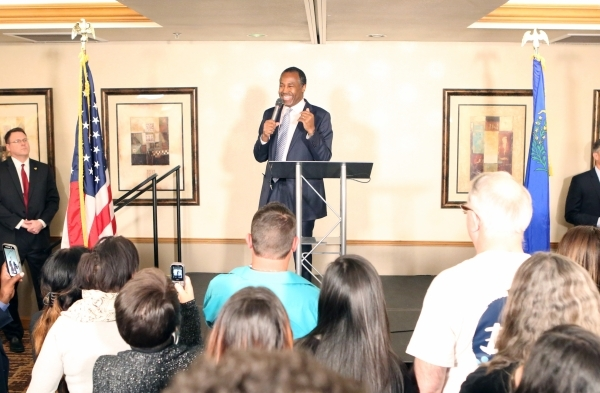 Republican presidential candidate Dr. Ben Carson speaks during the watch party at Embassy Suites Convention Center on Tuesday, Feb. 23, 2016, in Las Vegas. Bizuayehu Tesfaye/Las Vegas Review-Journ ...