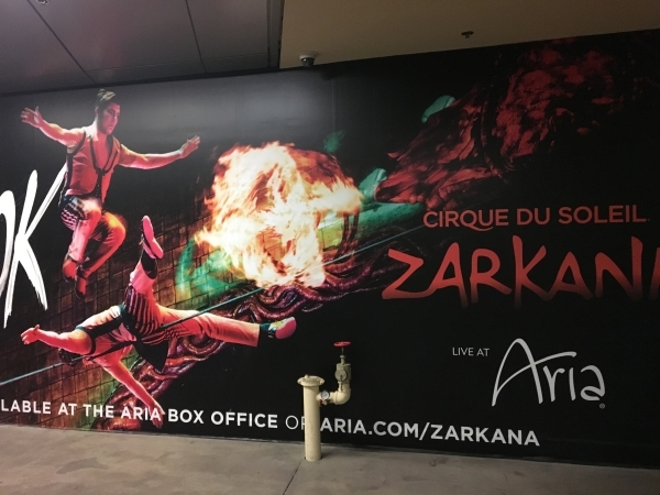 Advertising for the Cirque du Soleil Zarkana show at Aria is shown Tuesday night after a performer was injured during a show. The show was stopped, but resumed after the performer was taken off th ...