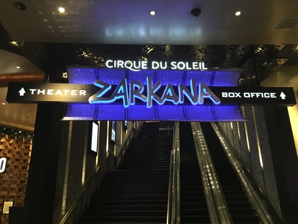 The escalator to the Cirque du Soleil Zarkana showroom at Aria is shown Tuesday night after a performer was injured during a show. The show was stopped, but resumed after the performer was taken o ...