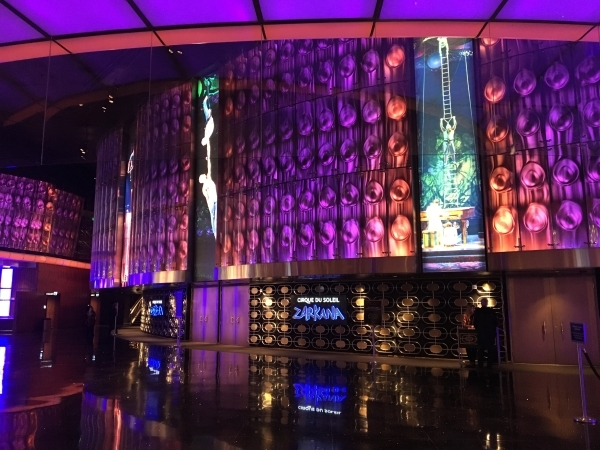 The lobby outside the Cirque du Soleil Zarkana showroom at Aria is shown Tuesday night after a performer was injured during a show. The show was stopped, but resumed after the performer was taken  ...